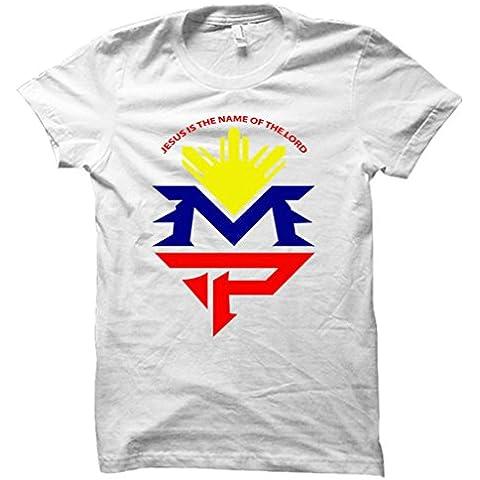 Nueva lucha noche Manny Pacquiao caminar en camiseta Mayweather las Vegas, MGM camiseta de boxeo para hombre blanco libre Post