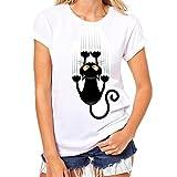 Ularma Damen Mädchen Katze Aufdruck T-Shirt Kurzarm Rundhals Top Plus Size (L, D)