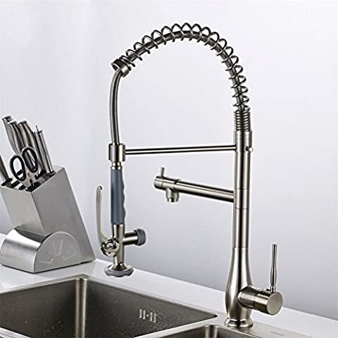 Spring Style Nickle Brushed Kitchen Pull Faucet Mixer Dual Sprayer Swivel Spout Rotatable Hot Cold Faucet Sink Mixer