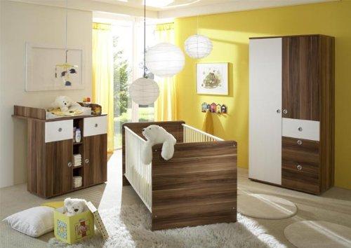 Babymöbel Set 731 in Weiß/Walnuss-Dekor komplett 3teilig Bett/Kommode/Schrank \'WikiK\'