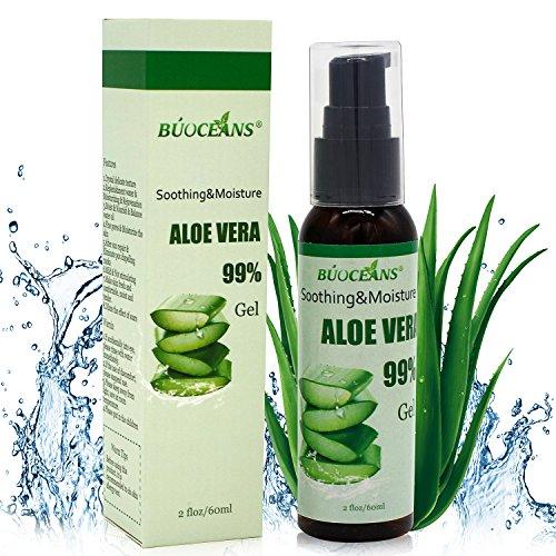 Aloe Vera GEL 60ml - 99% biologisch, KEIN XANTHAN, zieht schnell ein, keine Rückstände - Feuchtigkeitspflege für die Haut - After-Sun Bodylotion bei Sonnenbrand, Feuchtigkeitspflege für Gesicht, Haut und Haar Test
