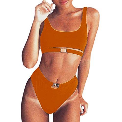 Bademode Bikini Frauen Damen Set Push-Up gepolsterte Bade Badeanzug Beachwear GreatestPAK Orange S