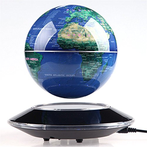 tronische Magnetschwebebahn schweben Globus Weltkarte mit LED Lights Home Office Dekoration Business Geschenk Schaufenster-Dekoration (Blau) ()
