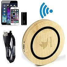 Cargador inalámbrico Qi nestlingelegant madera de bambú con implantée Samsung Galaxy S6 con Logo, S6 etidronato, Nexus 4, 5, 6, 7, Moto 360 Reloj, Nokia Lumia 830, 735, 920, 928, 930, 1520, Blackberry Z30, Catphone S50, Asus Padfone S PF500KL, Samsung Galaxy S3, S4, S5, Nota 3, Nota 4, Alpha con PWRcard e SlimPWRcard, iPhone 6, 6 Plus, 5, 5c, 5s con iQi móvil, y otros Qi-enabled tabletas y teléfonos - madera
