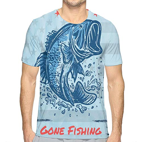 3D Printed T Shirts for Mens,Vintage Design Trout Fish Stars In American Flag Colored Frame Illustration L