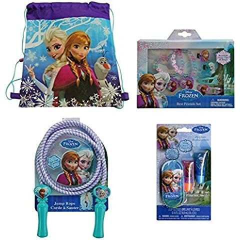 Disney Frozen Non-woven Nylon Sling Bag with Disney Frozen Best Friends 6-piece Set, Disney Frozen Lip Gloss Set (2) Lip Glosses with Mini Tin Carrying Case and Disney Frozen Deluxe Jump Rope by Disney