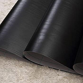 Lovefaye Solid Black Wood Grain Contact Paper Self