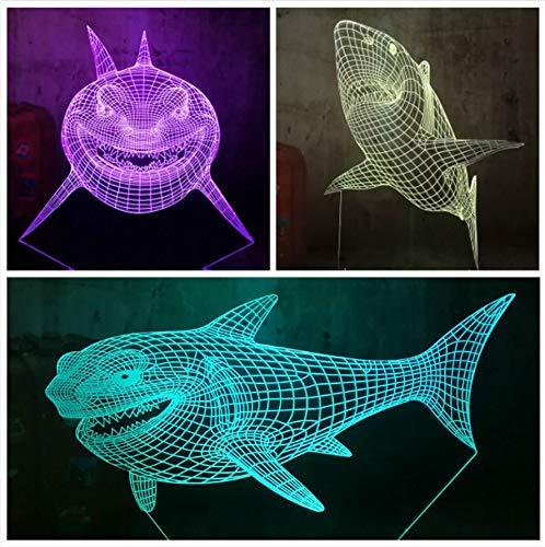 Guo Shark 3D Night Light - Tierisches Nachtlicht - Weißer Hai - Kreatives Geschenk - Acrylmaterial - 3D Tischlampe - Beste Wahl Für Freunde - Mehrere Farben Können Ihre Schönheit Aufhellen -