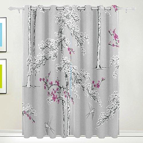TIZORAX Vintage Blüte grau violett Blattwerk Bird Vorhänge Verdunkeln isoliert Blackout Fenster Panel Drapes für Wohnzimmer Schlafzimmer 139,7x 213,4cm, Set von 2Panels