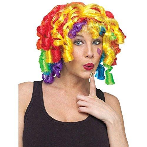 (Fun World Crazy Curlz Rainbow Clown Wig One Size)