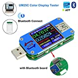 USB Spannungsprüfer Voltmeter Tester Multimeter UM25C Spannung Meter LCD Display USB-Digital-Multimeter-Tester Aktuell Amperemeter Batterie Ladung, 1,44 Zoll 5A USB 2.0 Typ-C Bluetooth