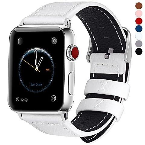 7 Couleurs pour Apple Watch Bracelet, Fullmosa® Jan Apple 42mm Apple Watch Band Series Bracelet en Cuir de Veau avec Fermoir en Acier Inoxydable pour iwatch Series 1 Series 2 Series 3, Blanc