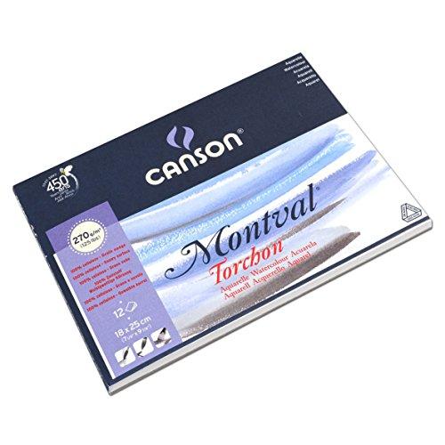 Canson Montval - Papel para acuarela (18 x 25 cm), color blanco