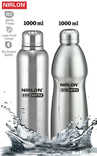 Nirlon Stainless Steel Water Bottle Set, 1 Litre, Set of 2, Silver (FB_48841_48846)