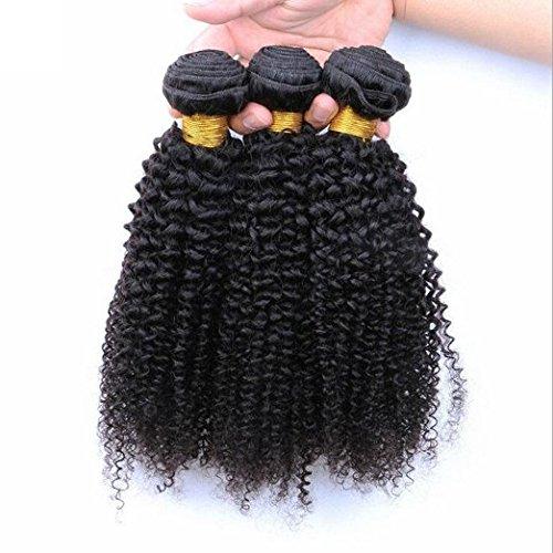 Haafee® Lot de 3 trames Jerry curly tissage cheveux brésiliens vierges Extensions boucles cheveux noir naturel Extensions capillaires 100% cheveux humains Couleur (16 16 16 pouces)