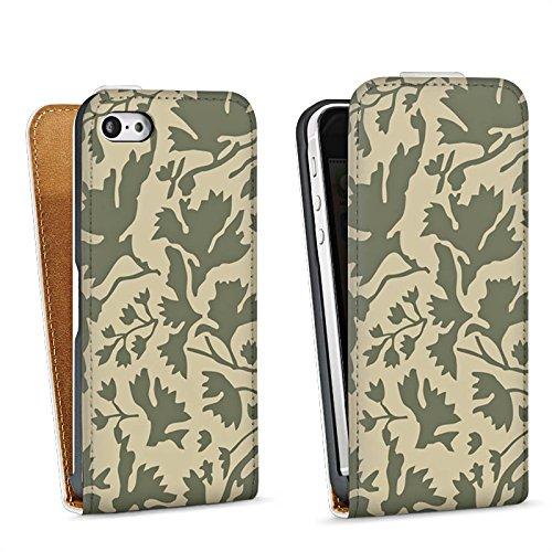 Apple iPhone 5 Housse Étui Silicone Coque Protection Motif floral Feuillage Marron Sac Downflip blanc