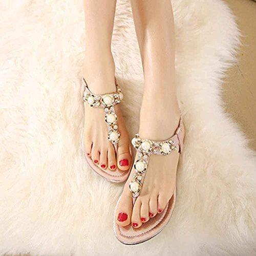 Ouneed® Ete Femmes Perle Sandale avec Bandage Elastique Rose