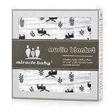 Soft & Cozy Zwei Schichten Musselin Baumwolle Baby Decke für Deep Sleep, Kinderwagen Decke für 120 x 120 cm Unisex(Lila Elch)