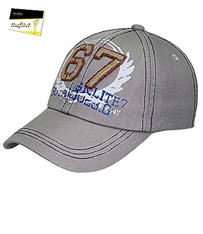 Fiebig Baseball Cap Basecap Kappe Herren Cap Mütze Streetwear größenverstellbar mit Aufnäher und Aufdruck für Männer (FI-59579-S16-HE0-13-58) in hellgrau, Größe 58 inkl. EveryHead-Hutfibel