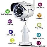 Sumpple Überwachungskamera (HD 720P)/ Wifi WLAN Wireless Außen&Innen/IP66 Wasserdicht, Bewegungserkennung, Nachtsicht, Videoaufzeichnung, E-Mail Alarm/ Unterstützt iOS, Android und PC, Weiß