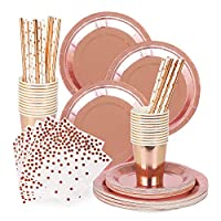 Rorchio 170pk Rose Gold Party Tableware, Rose Gold Paper Plates Cocktail Napkins Cups Straws for Birthday Party Supplies,Weddings, Hen Party Decorations (30 Guests)