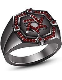 Negro chapado en rodio de plata de ley 925 rojo granate judío estrella de David anillo