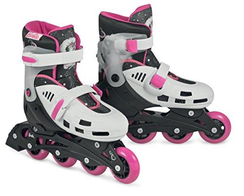 Barbie Mädchen Inline Skates Fashion Sketch Adjustable Hardboot, Weiß/Rosa / Schwarz, 31-34