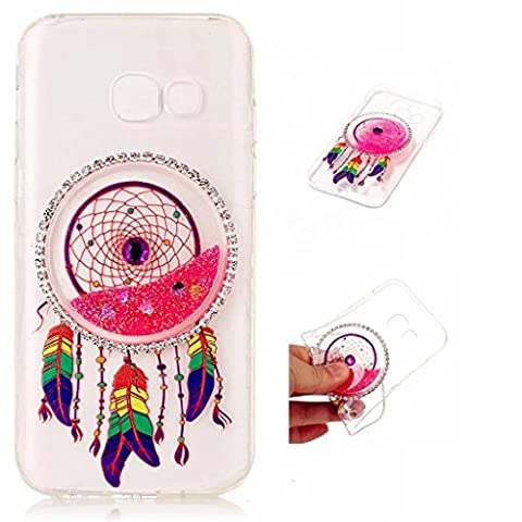 Samsung Galaxy A5 (2017) Case Cover MUTOUREN TPU Silicone Liquid Cover Stylish 3D Creative Red Dreamcatcher Design Quicksand Glitter Clear Crystal Gel Rubber Bumper Protective Transparent Ultra Thin Gel clear crystal Exact Fit protective cover anti scratch shock resistant shell-quicksand dreamcatcher