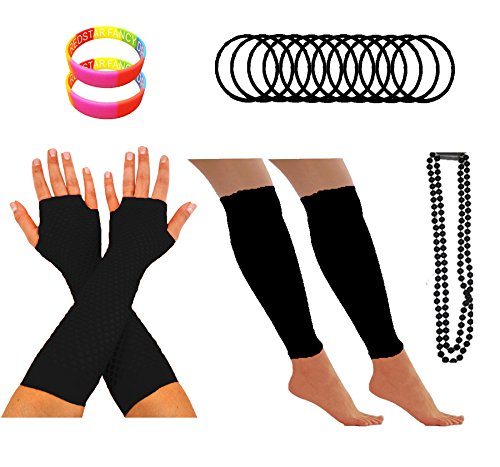 Neon or Black 80s Accessories Set for Women
