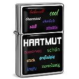 PhotoFancy® - Sturmfeuerzeug Set mit Namen Hartmut - Feuerzeug mit Design Positive Eigenschaften - Benzinfeuerzeug, Sturm-Feuerzeug