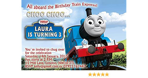 10 x Personalised Photo Birthday Invitations//Thank you Cards THOMAS THE TANK