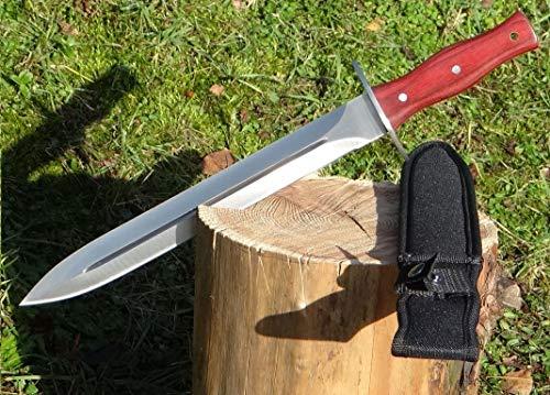 Maximtac XL Jagdmesser mit feststehender Full-Tang Klinge, länge 405mm Dolch-Form Hirschfänger Saufänger mit Blutrinne, Holzgriff + Nylon-Scheide -