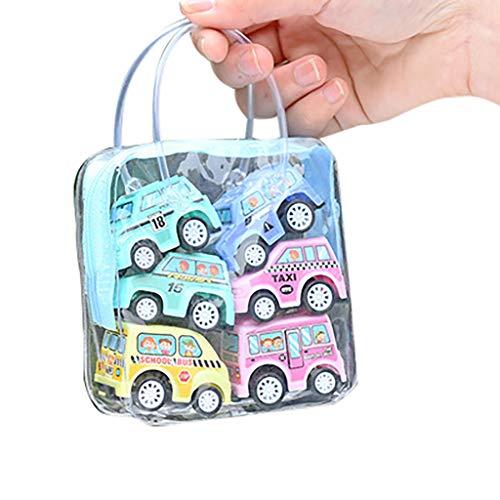 Wascoo Kinderspielzeug Lernspielzeug Kindertagesgeschenk,6pcs Verschiedene Mini Truck Spielzeug und Rennwagen Spielzeug Kit Set