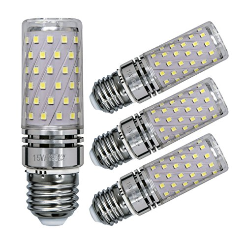 Sagel E27 LED Mais Birne, 15W LED Kerzenleuchter Glühbirnen 120 Watt Äquivalent, 1500lm, Cool Weiß 6000K LED Kronleuchter Lampen, Sockel E27, Nicht Dimmbare LED Lampe, 4er Pack - 4p Uv-lampe