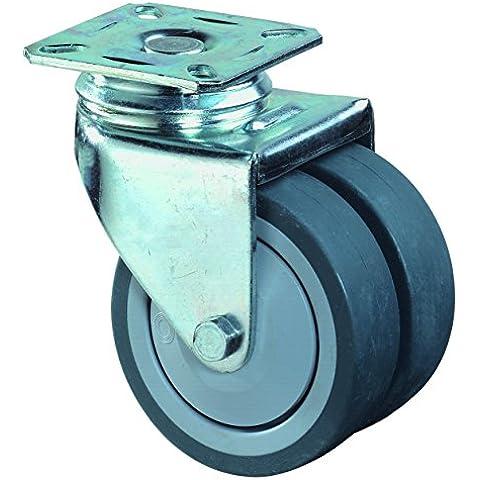 BS ruote doppia rotella con piastra di ancoraggio per cuscinetti a sfera, ruota in gomma, diametro 75mm senza constatazione, b100.a85.075