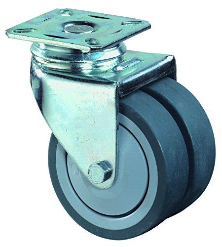 BS ROLLEN B100.A85.075 Doppellenkrolle mit Anschraubplatte-Kugellager/Gummirad, ø 75, ohne Feststellung