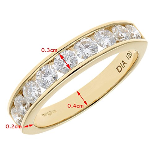 Naava 18 ct Gold Channel Set Half Eternity Ring, HS/I Certified Diamonds, Round Brilliant, 1 ct