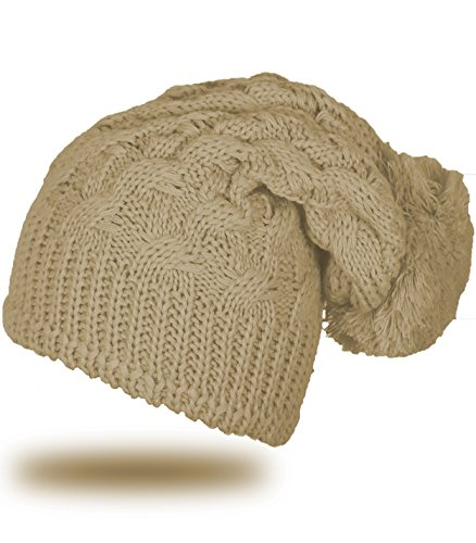 4sold Unisex Lady Skullies Bonnets Bonnet fourré hiver pour femme bonnet tricoté avec torsades et gros pompon en fourrure plusieurs coloris taille unique Beige
