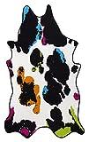 Kunstfell Fellteppich Rinderfell Stierfell Kuhfell Tierfell Cowhide Imitat Rinderfellmotiv Designerteppich Läufer – Kunstfaser Oeko-Tex100 andiamo – Dekoration Deko-Fell Wohnzimmer  – 133x220 in multi