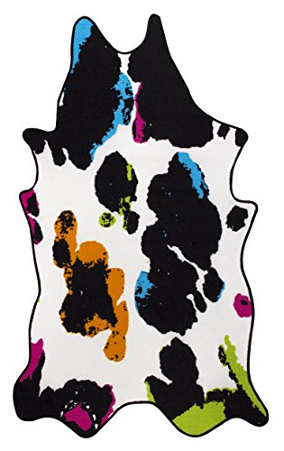 andiamo Kunstfell Fellteppich Rinderfell Stierfell Kuhfell Tierfell Cowhide Imitat Rinderfellmotiv Designerteppich Läufer – Kunstfaser Oeko-Tex100 Dekoration Deko-Fell Wohnzimmer – 133x220 in multi