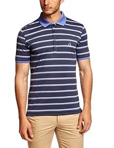 CALVIN KLEIN Golf Men's CK Stripe Performance Polo Shirts - Black/Wildblue/White, Medium