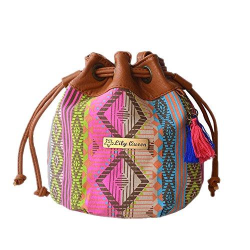 DELEY Vintage Frauen Ethnische Art Eimer Quasten Kordelzug Tote Handtasche Schultertasche Mehrfarbig