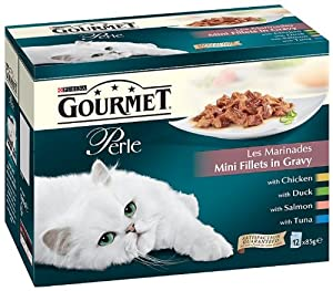 Gourmet Perle Les Marinades 12 x 85 g (Pack of 4, Total 48 Pouches) by Nestlé Purina