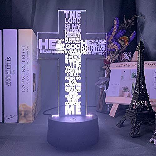 Acryl Carving 3D Illusion Nachtlicht App steuert 7 & 16M Farben LED Heilige Bibel Psalm Gedicht Christian Cross Church Familiengeschäft Kinder Freunde Weihnachtsgeschenke