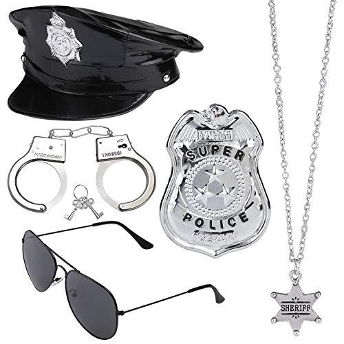 Beelittle Polizei Kostüm Zubehör Polizei Hut Handschellen Polizist Abzeichen Police Officer Dress Up Kostüm Zubehör für Cop Swat FBI Kostüm Party Halloween Rollenspiel (D) (Fbi Swat Kostüm)