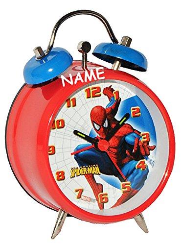 Unbekannt Kinderwecker Spiderman incl. Name - Kinder Wecker Metallwecker Metall Alarm Analog Amazing Spider Man Spinne Spider-Man Jungen