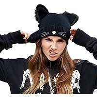 Richoose Bonnet Tricoté Femme Chapeau Hiver Cap Chat Oreilles Beanie Hats