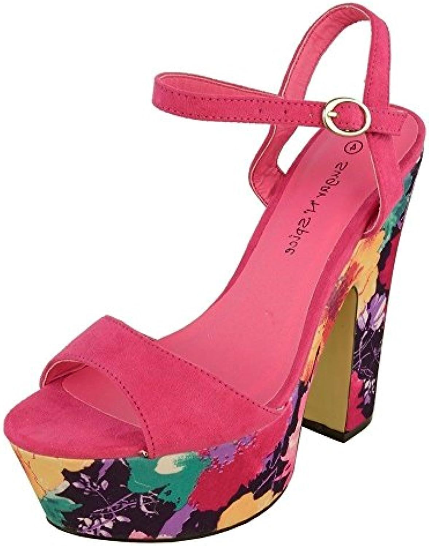 ef93a6cd8689 Women s   Ladies Ladies Ladies Floral High Heeled Ankle Strap Peep-Toe Platform  Shoes (UK 3 - 8) B07534B18J Parent 47fc93