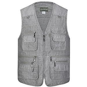 Hehairongg Gilet da uomo Casual multi-tasca pesca fotografia Gilet maglia materiale ultra-sottile (Colore : Dark gray, Dimensione : XXXL)