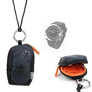 Housse étui noir pour montre connectée Withings Activite Pop, Polar A300 Fitness Tracker, Garmin Fenix 3, Epix et Vivoactive - passant de ceinture + tour du cou - DURAGADGET